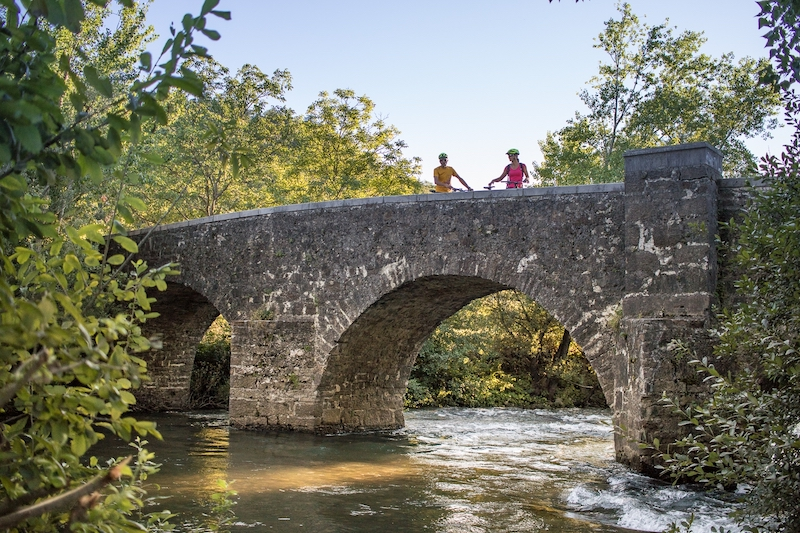 Napoleon`s bridge over the Vipava river during an e-bike tour of the Vipava Valley.