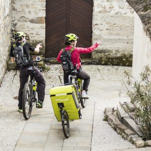 Middle aged couple cycling with rental electric bikes through vineyards of the Vipava Valley, Slovenia