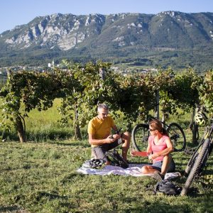 Couple enjoying pic-nic lunch in the vineyards during cycling trip in the Vipava Valley, Slovenia.